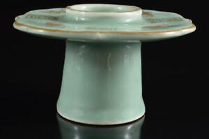 #4085:Japan Old Imari-ware Celadon Tenmoku TEABOWL STAND/tray Powdered green tea