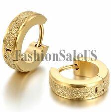 Men Women Unisex Fashion Stainless Steel Matte Charm Hoop Huggie Earrings 2PCS