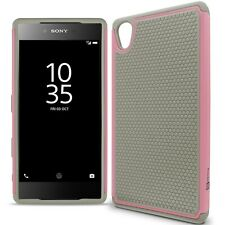 For Sony Xperia Z5 Premium Case - Gray / Light Pink Rugged Skin Phone Cover