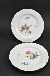 k66b40- 2x Meissen Porzellan Dessertteller, Altozier Blumen mit Insekten