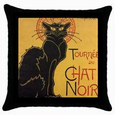 Le Chat Noir Black Cat Throw Pillow Case