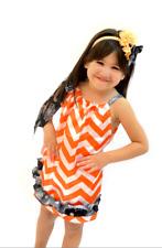 Halloween Orange & white Satin Chevron Pillow case dress & head band Size 5-7yrs