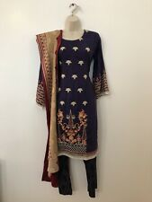 NEW Pakistani Stitched Shalwar Kameez Womens Designer Embroidery Linen Suit S-M
