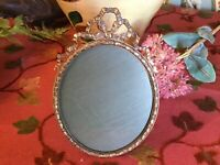 Antique French Victorian Oval Gold Metal Portrait Frame Circa 1890