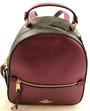 New Authentic Coach F85029 Leather & Sig coated canvas Jordyn Backpack Berry