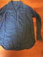 J CREW Women's Size 4 Blue Chambray Long Sleeve 100% Cotton Shirt Blouse Tunic