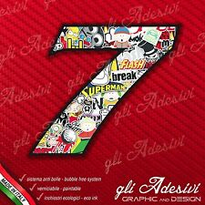 Adesivo Stickers NUMERO 7 moto auto cross gara STICKER BOMB 5 cm