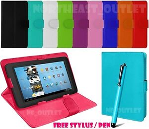 """Universal Leather Case Cover For 7"""" Inch ASUS ZenPad C 7.0 Tablet + Free Stylus"""