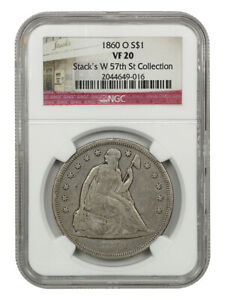 1860-O $1 NGC VF20 - Popular New Orleans Mint - Liberty Seated Dollar