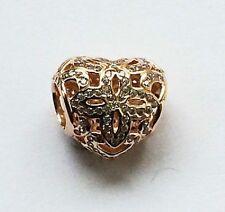 Pandora ROSE GOLD LOVE & apprezzamento Cuore Charm (Genuine ALE R)