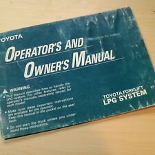 Toyota Lpg System Forklift Truck Owner Operator Safety Manual User Guide Book