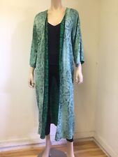 Cardigan Kimono  Animal Print Green Women Long  Dress  Long Bell- Sleeve Size S