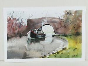 Canal boat  landscape Watercolour Painting 101 barge Bridge narrow boats