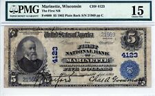 Marinette, Wisconsin  First National Bank  $5 1902 PB  CH# 4123  PMG 15