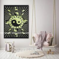 Indian Handmade Yin Yang Tapestry Cotton Wall Hanging Running Table Throw Decor