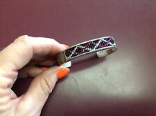 Black Beaded Cuff Bracelet Sterling Silver Pink Purple
