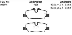 EBC Yellowstuff Sport Brake Rear Pad Set for 2014-2020 Mini Hardtop 1.5L / 2.0L