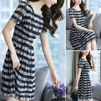 Summer Korean Style Women Striped Crew Neck Short Sleeve High Waist A-Line Dress