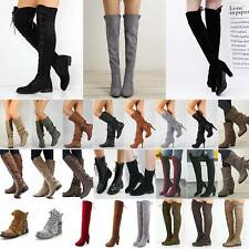 Womens Thigh High Over The Knee Boots Party Lace Up Heels Casual Thermal Shoes