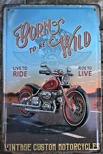 Motorcycle poster embossed metal tin signs vintage cafe pub bar garage decor