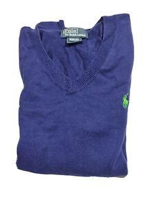 Polo Ralph Lauren Boys V-Neck Pullover Sweater Size 10-12 Blue Sweatshirt