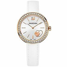NEW WOMENS SWAROVSKI (5179367) SWISS DAYTIME WHITE CRYSTAL LEATHER STRAP WATCH