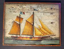 Antiguo Pintura marina en madera. al óleo Caique con dos mástiles, shabby chic