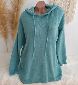 Italy Hoodie Pullover  Strick Pulli Kapuze Oversize Blogger Winter 38 40 42 Aqua
