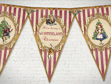 Alice in Wonderland 'Having a Wonderland Christmas' Bunting/Banner & Ribbon