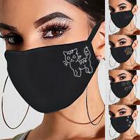 Weihnachten Mund-Nasen-Maske waschbar Stoffmaske wiederverwendbar Schwarz HOT*