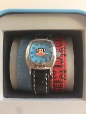 Genuine Paul Frank Leather Watch 3 Changeable Bands Red, Blue, Black New in Tin