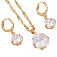 Schmuckset Halskette Anhänger Ohrringe Zirkonia weiß 750er Gold vergoldet S1833