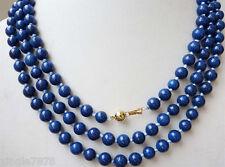 8mm Egyptian Lapis Lazuli Dark Blue Round Bead Gemstones necklace 34''