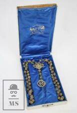Antiguo Rosario de Filigrana Plata - Medalla JHS - Joyería Barcelona. Ppios s XX