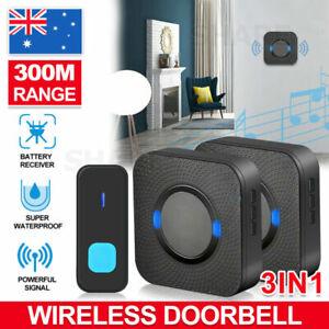 Wireless Door Bell Chime Waterproof Doorbell + Plugin Receivers 300M Long Range