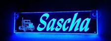 Truckerschild, Namensschild, beleuchtet,Sascha oder Wunschname,BLENDFREI,12V-24V