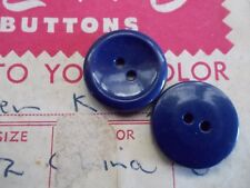 Pack of 6 vintage buttons 19mm flat back two holes navy