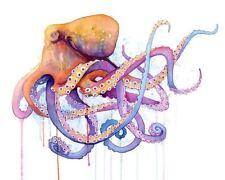 NAUTICAL OCTOPUS ART PRINT watercolor purple blue orange sealife 30x24 poster