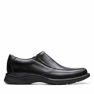 Clarks Mens Kempton Free Black Leather Shoes