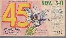 Trolly/Bus pass capital Transit Wash. DC--1950 Pasque-----51