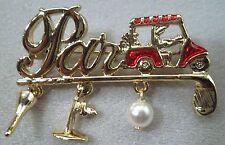 Golf PAR Script & Golf Cart Charm Brooch Pin Signed by Danecraft Gold Plate NEW