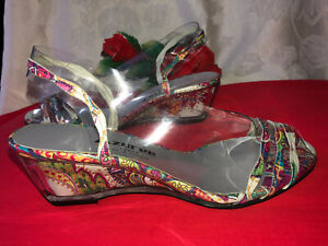 New AZUREE Cannes Made in France Women Transparent Patent Leather Sandals. Sz-5M