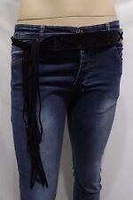 Women Bohemian Fashion Fringes Tie Belt Faux Leather Waistband XXX Plus M L XL