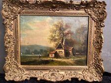 Antiker Romantiker Gemälde um 1880 Ölbild Öl auf Leinwand Gehöft in Holland ?