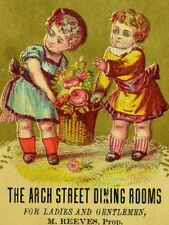 1870's The Arch Street Dining Rooms Kids Carrying Food M. Reeves, Prop Card  F80