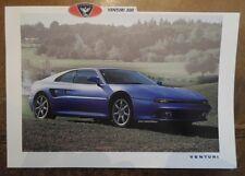 VENTURI ATLANTIQUE 300 COUPE orig 1993 Sales Leaflet Brochure - English & French