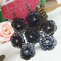Stupéfiant style bohême fleur noir lustre boucles d'oreilles