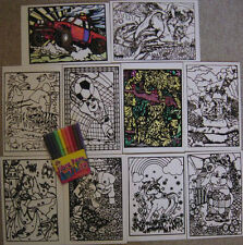 Velvet colouring cards,10 pictures &10 Fibre art pens, New item