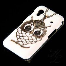 Samsung Galaxy Ace s5830, funda rígida móvil, funda protectora, funda, protección estuche lechuza cadena blanco Owl