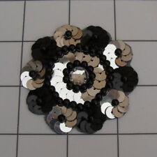 BLACK SILVER SEQUIN BEADED FLOWER APPLIQUE  2418-D